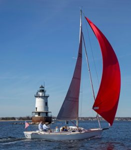 Alerion 30 sailing in Narragansett Bay RI.